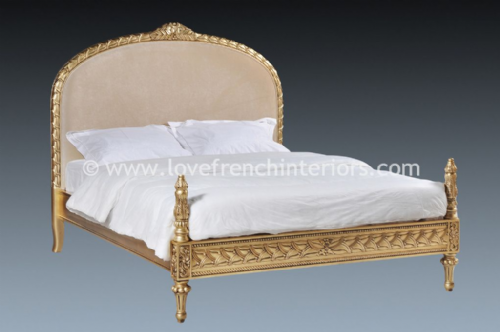 French Upholstered Gold Leaf Bed